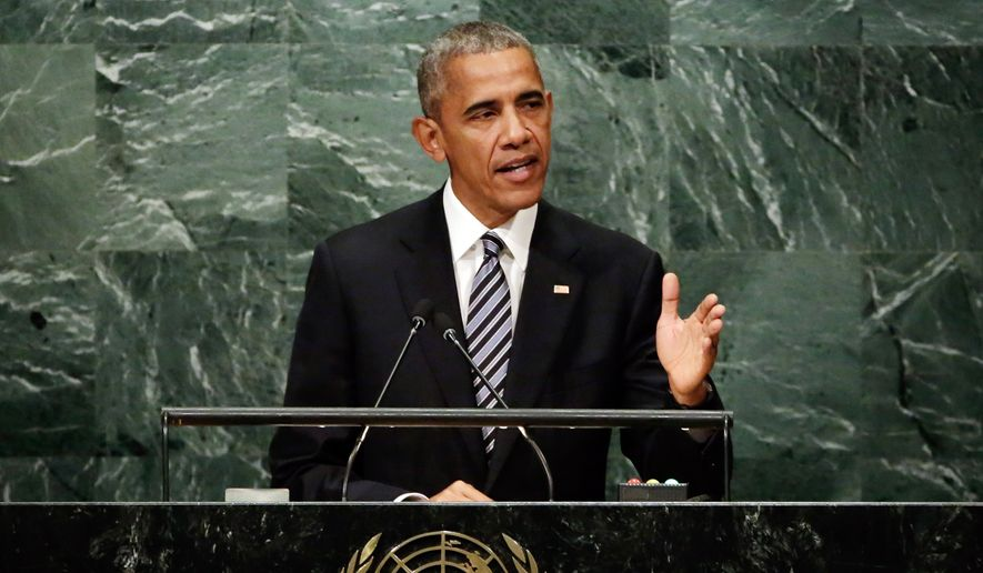 United States President Barack Obama addresses the 71st session of the United Nations General Assembly, at U.N. headquarters, Tuesday, Sept. 20, 2016. (AP Photo/Richard Drew)