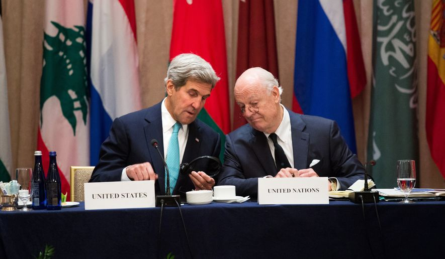 U.S. Secretary of State John Kerry, left, speaks with United Nations envoy to Syria, Staffan de Mistura during the International Syria Support Group meeting Tuesday, Sept. 20, 2016, in New York. (AP Photo/Kevin Hagen)