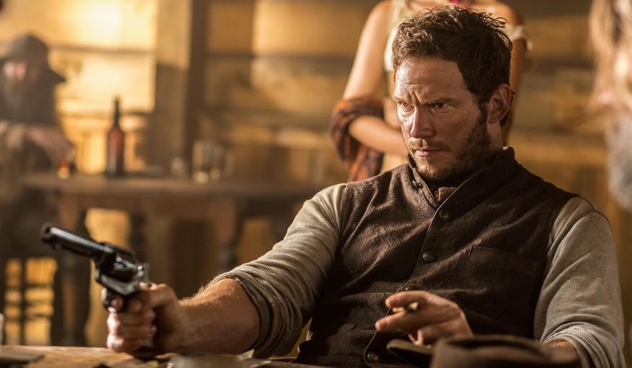 "In this image released by MGM/Columbia Pictures, Chris Pratt appears in a scene from, ""The Magnificent Seven."" (Sam Emerson/MGM/Columbia Pictures/Sony via AP)"