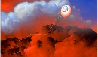 Illustration on Obama's exit before the consequences by Alexander Hunter/The Washington Times