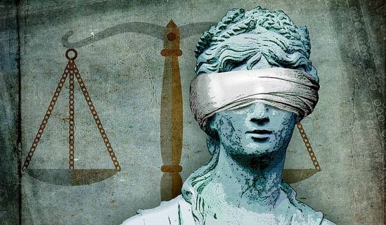 Blind Justice Illustration by Greg Groesch/The Washington Times