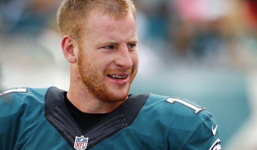 Philadelphia Eagles quarterback Carson Wentz during a NFL football game against the Cleveland Browns at Lincoln Financial Field in Philadelphia, Sunday, Sept. 11, 2016. (Winslow Townson/AP Images for Panini)