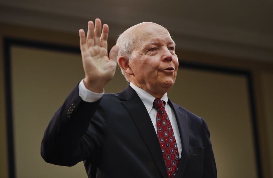 IRS Commissioner John Koskinen is sworn in on Capitol Hill in Washington, Wednesday, Sept. 21, 2016, prior to testifying before the House Judiciary Committee's impeachment hearing. Commissioner Koskinen has been accused by Republicans of failing to provide information demanded by Congress and lying under oath as it investigated allegations the agency targeted tea party groups that had applied for tax-exempt status. (AP Photo/Pablo Martinez Monsivais)
