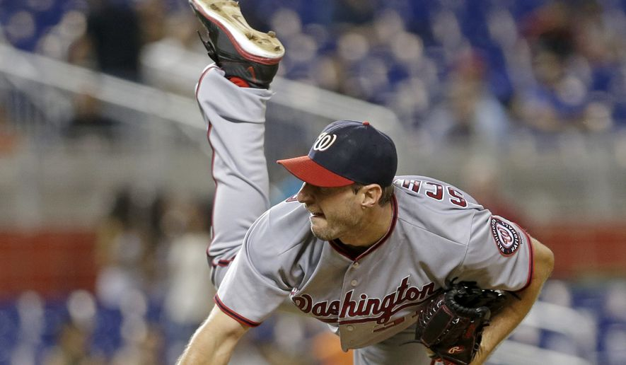 Washington Nationals' Max Scherzer pitches against the Miami Marlins in the third inning of a baseball game, Wednesday, Sept. 21, 2016, in Miami. (AP Photo/Alan Diaz)
