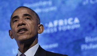 President Barack Obama speaks at the U.S.-Africa Business Forum at The Plaza Hotel in New York, Wednesday, Sept. 21, 2016. (AP Photo/Carolyn Kaster) ** FILE **