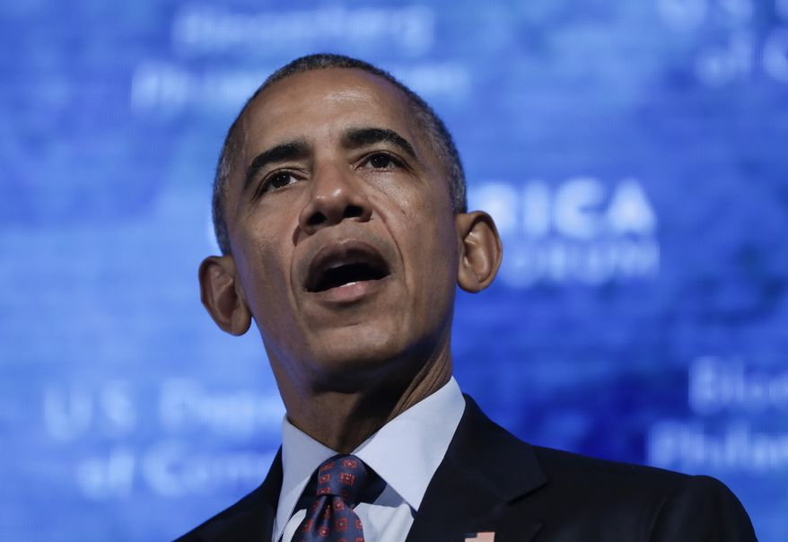 President Barack Obama speaks at the U.S.-Africa Business Forum at The Plaza Hotel in New York, Wednesday, Sept. 21, 2016. (AP Photo/Carolyn Kaster)