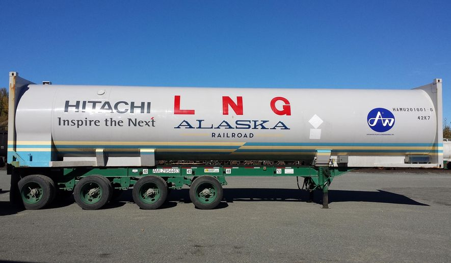 This undated photo provided by Alaska Railroad shows a 40-foot liquefied natural natural gas tank in Anchorage, Alaska, one of two that will carry the first U.S. shipment of LNG by rail. The railroad has scheduled the first shipment of LNG from Fairbanks to Anchorage on Tuesday, Sept. 27, 2016. (Tim Sullivan/Alaska Railroad via AP)