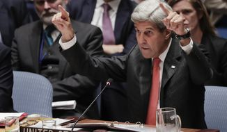U.S. Secretary of State John Kerry speaks during a Security Council meeting, Wednesday, Sept. 21, 2016, at U.N. headquarters. (AP Photo/Julie Jacobson)