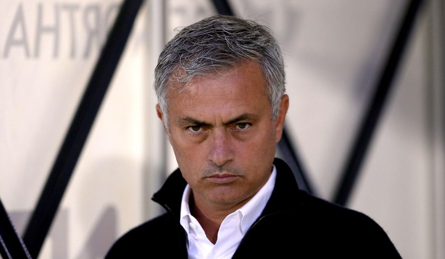 Manchester United manager Jose Mourinho looks on before their English League Cup third round soccer match against Northampton Town, at Sixfields Stadium, Northampton, England, Wednesday, Sept. 21, 2016. (David Davies/PA via AP)