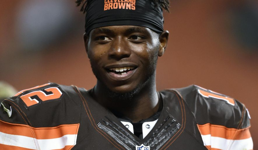 FILE - In this Sept. 1, 2016, file photo, Cleveland Browns wide receiver Josh Gordon walks off the field after an NFL preseason football game, in Cleveland. Suspended Browns wide receiver Josh Gordon has had an arrest warrant issued against him in a paternity case. Gordon did not address several subpoenas and a Cuyahoga County judge issued the warrant last month, the county's prosecutor's office confirmed Wednesday. (AP Photo/David Richard, File)