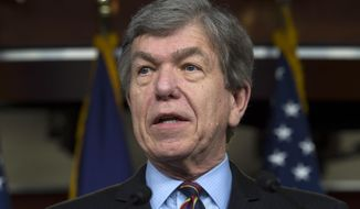 In this Feb. 12, 2015, file photo, Sen. Roy Blunt, R-Mo., speaks during a news conference on Capitol Hill in Washington. (AP Photo/Molly Riley, File)