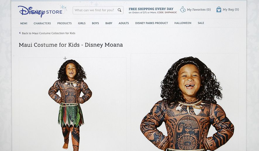 "This photograph of a computer screen shows the DisneyStore.com website's Maui Halloween costume on Wednesday, Sept. 21, 2016. Disney said Wednesday it would no longer sell the boy's costume for a Polynesian character that some Pacific Islanders have compared to blackface. The getup features full-body tattoo art adorning Maui, a lead character in the upcoming animated movie ""Moana."" (DisneyStore.com via AP)"