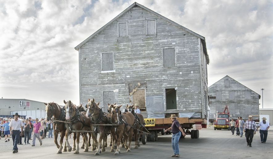 In this Tuesday, Sept. 20, 2016 photo, an eight team hitch of horses begins to move Moses Yoder house, built in 1866, from Arthur, Ill., to the site of the new Illinois Amish Museum and Heritage Center near Chesterville, Ill. (John Dixon/The News-Gazette via AP )