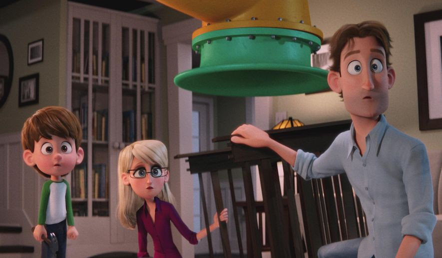 """This image released by Warner Bros. Pictures shows characters Nate Gardner, voiced by Anton Starkman, from left, Sarah Gardner, voiced by Jennifer Aniston and Henry Gardner voiced by Ty Burrell in a scene from """"Storks."""" (Warner Bros. Pictures via AP)"""