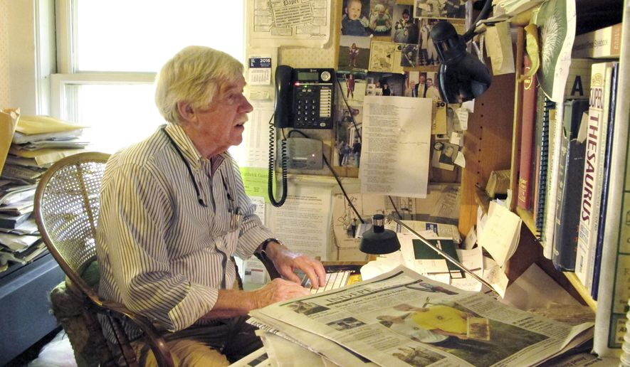 Ross Connelly, owner of the Hardwick Gazette weekly newspaper, sits in his office on Wednesday, Sept. 21, 2016, in Hardwick, Vt. Connelly says he still hadn't reached his goal of 700 essays and was extending the deadline for the second time until Oct. 10 to explain why they want to own the Hardwick Gazette. The 71-year-old Connelly came up with the $175 contest when he couldn't sell the paper. (AP Photo/Lisa Rathke)