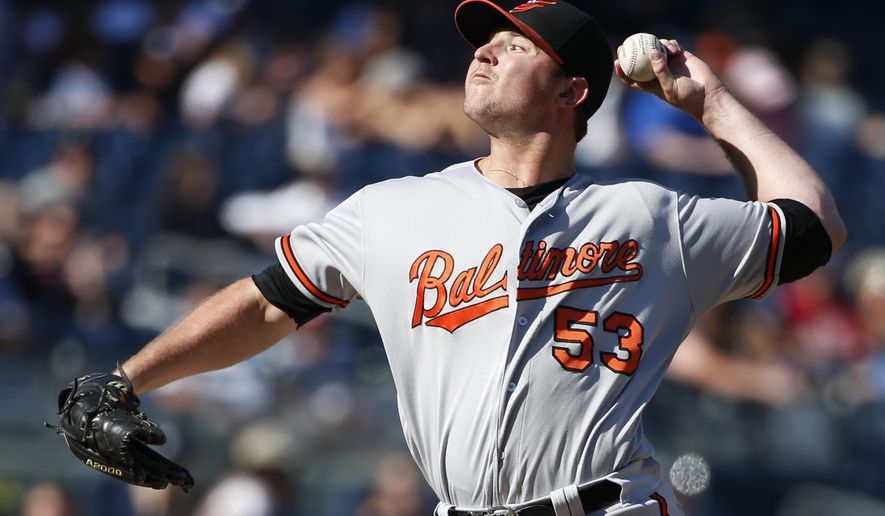 FILE - In this Aug. 28, 2016, file photo, Baltimore Orioles relief pitcher Zach Britton (53) winds up in the ninth inning of the Orioles 5-0 shutout over the New York Yankees in a baseball game in New York. Britton has become part of the conversation for the AL Cy Young Award, even though it's been 24 years since a reliever won it. (AP Photo/Kathy Willens, File)