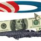 Illustration on the barely growing Obama economy by Alexander Hunter/The Washington Times