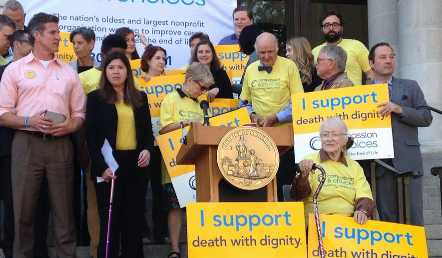 Dan Diaz (left, in pink shirt), is the widower of Brittany Maynard, who moved from California to Oregon to end her life after fighting a terminal brain tumor. Mr. Diaz said the District's right-to-die bill is about ending suffering. (Ryan McDermott/The Washington Times)