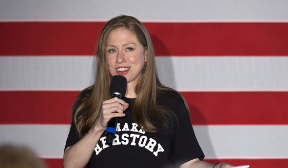 Chelsea Clinton speaks during the Women for Hillary event at the Richard App Gallery, in Grand Rapids, Mich., Thursday, Sept. 22, 2016. Clinton is the daughter of Democratic presidential candidate Hillary Clinton and former President Bill Clinton. (Cory Morse/MLive.com-The Grand Rapids Press via AP) ** FILE **