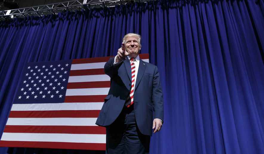 Republican presidential candidate Donald Trump arrives for a campaign rally at Sun Center Studios, Thursday, Sept. 22, 2016, in Aston, Penn. (AP Photo/ Evan Vucci)