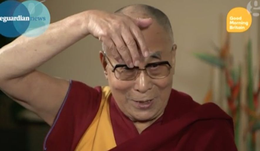 The Dalai Lama's mocked Donald Trump's hair and mouth while giving an impression of the Republican presidential nominee during an interview Thursday. (ITV)