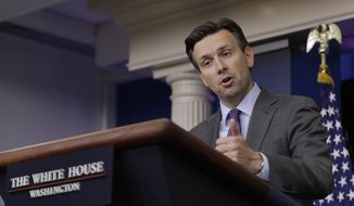 White House press secretary Josh Earnest speaks during the daily news briefing at the White House in Washington, Thursday, Sept. 22, 2016. Earnest discussed Syria and other topics. (AP Photo/Carolyn Kaster)