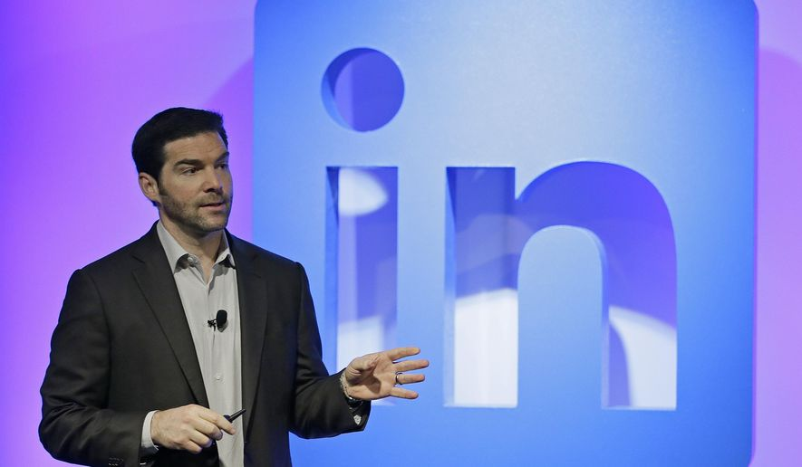 "LinkedIn CEO Jeff Weiner speaks during a product announcement at his company's headquarters, Thursday, Sept. 22, 2016, in San Francisco. LinkedIn wants to become more useful to workers by adding personalized news feeds, helpful messaging ""bots"" and recommendations for online training courses, as the professional networking service strives to be more than just a tool for job-hunting. (AP Photo/Eric Risberg)"