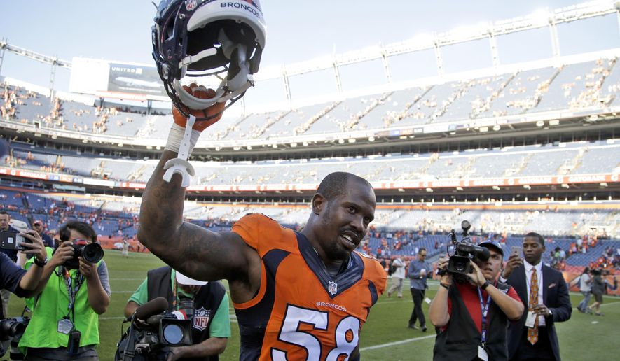 FILE- In this Sunday, Sept. 18, 2016, file photo, Denver Broncos outside linebacker Von Miller celebrates after a win over the Indianapolis Colts in an NFL football game in Denver.  The Broncos' star pass rusher has four sacks already, including the game-sealing strip of Andrew Luck that was reminiscent of his mammoth hits in the Super Bowl when he snatched the football and the Lombardi Trophy from Cam Newton's grasp. (AP Photo/Joe Mahoney, File)