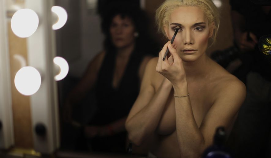In this Sunday, Sept. 18, 2016 photo, Linni Rows Wiman, from Sweden, applies make up ahead of the Miss Trans Star International 2016 show celebrated in Barcelona, Spain, (AP Photo/Emilio Morenatti)