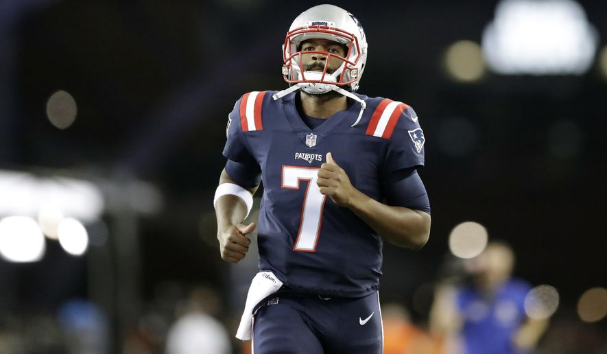 New England Patriots quarterback Jacoby Brissett runs onto the field to warm up before an NFL football game against the Houston Texans Thursday, Sept. 22, 2016, in Foxborough, Mass. (AP Photo/Charles Krupa)