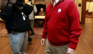 FILE – In this Nov. 2, 2010, file photo, Democratic Ohio Gov. Ted Strickland smiles after voting at the Jeffrey Mansion in Bexley, Ohio.  Some Ohio Democrats are exhibiting buyer's remorse as the shine rapidly fades from Strickland's once-promising campaign against Republican U.S. Sen. Rob Portman. The 75-year-old former governor had high name recognition and strong support from labor, earning him the backing of Democratic party leaders in his primary against 31-year-old Cincinnati Councilman P.G. Sittenfeld. Months later, Portman, 60, is comfortably ahead in opinion polls, and national Democrats are pulling millions of dollars in planned pro-Strickland ad spending out of the state. (AP Photo/Terry Gilliam, File)