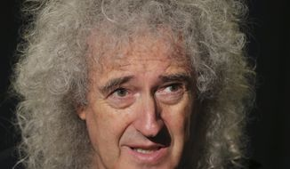 Brian May, guitarist of British rock group Queen, speaks during an interview with The Associated Press in Tokyo, Friday, Sept. 23, 2016. May is taking a stand against Japanese dolphin killing, saying the slaughter of animals should end in the same way society has turned against slavery or witch-burning. May spoke Friday while in Tokyo for a Queen concert. (AP Photo/Koji Sasahara)