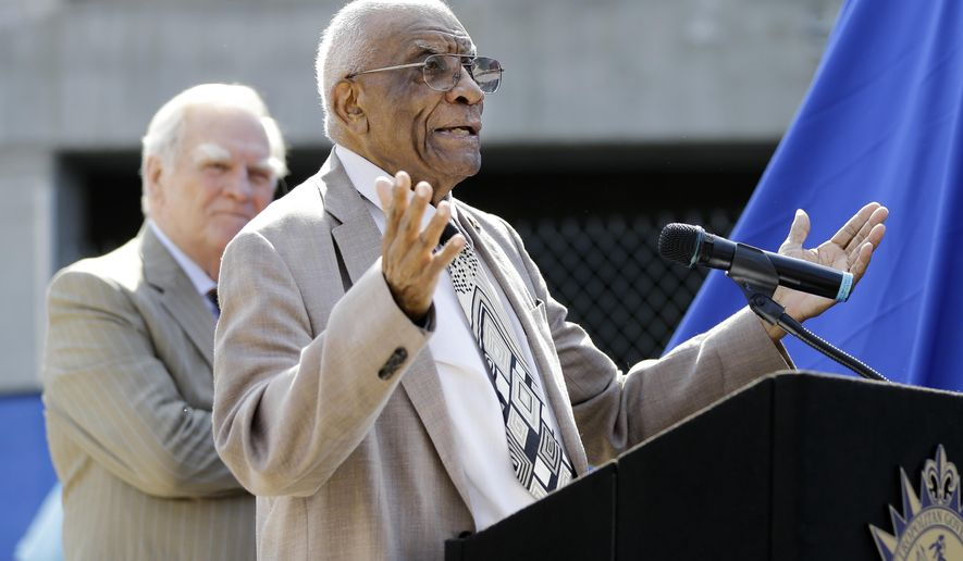 FILE - In this Aug. 28, 2015 file photo, former Tennessee State and Olympic women's track coach Ed Temple speaks during the dedication of his statue in Nashville, Tenn. Temple, the former Tennessee State track and field coach who led the U.S. women's team to 15 Olympic gold medals and helped break down racial and gender barriers in the sport, died Thursday night, Sept. 22, 2016. He was 89. (AP Photo/Mark Humphrey, File)