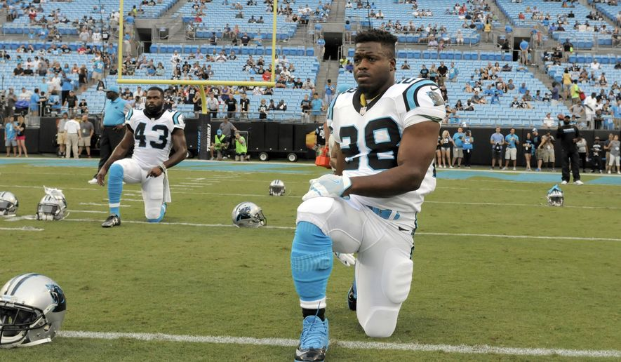 """FILE - In this Aug. 26, 2016, file photo, Carolina Panthers' Jonathan Stewart (28) warms up before an NFL preseason football game against the New England Patriots in Charlotte, N.C. The Vikings and Panthers will be counting on their backup running backs when they meet Sunday in Charlotte. Both teams lost their """"featured backs"""" last week to injury, Minnesota's Adrian Peterson underwent surgery to repair a torn meniscus, while Stewart is dealing with a pulled hamstring.  (AP Photo/Mike McCarn, File)"""
