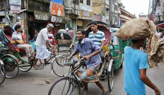 A Bangladeshi rickshaw transports a passenger in Old Dhaka, Bangladesh, Saturday, Sept. 24, 2016. Rickshaws are the most popular means of public transport in Dhaka. (AP Photo/A.M.Ahad)