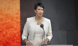 Washington D.C. Mayor Muriel Bowser speaks at the dedication ceremony for the Smithsonian Museum of African American History and Culture on the National Mall in Washington, Saturday, Sept. 24, 2016. (AP Photo/Pablo Martinez Monsivais) **FILE**