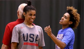 In this  Wednesday, Sept. 7, 2016 photo, Jaden Nielsen-Skinner, right, checks to see whether Evina Westbrook, front, or Price Johnson, the owner and operator of The Hoop, a competitive basketball training facility, is taller during an after-school training session in Salem, Ore. The Hoop in Salem is a full fitness center.  It is rented for various activities including volleyball, roller skating and wedding receptions. (Anna Reed/Statesman-Journal via AP)