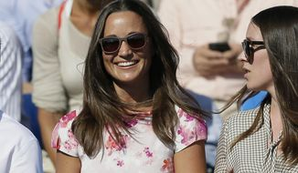 FILE- In this Friday, June 19, 2015 file photo, Pippa Middleton, left, the sister of Kate, the Duchess of Cambridge, watches the quarterfinal tennis match between Canada's Milos Raonic and France's Gilles Simon on the fifth day of the Queen's Championships in London. London police said Saturday, Sept. 24, 2016, they are investigating the reported hacking of the iCloud account of Pippa Middleton, younger sister of Catherine, Duchess of Cambridge. (AP Photo/Tim Ireland, File)