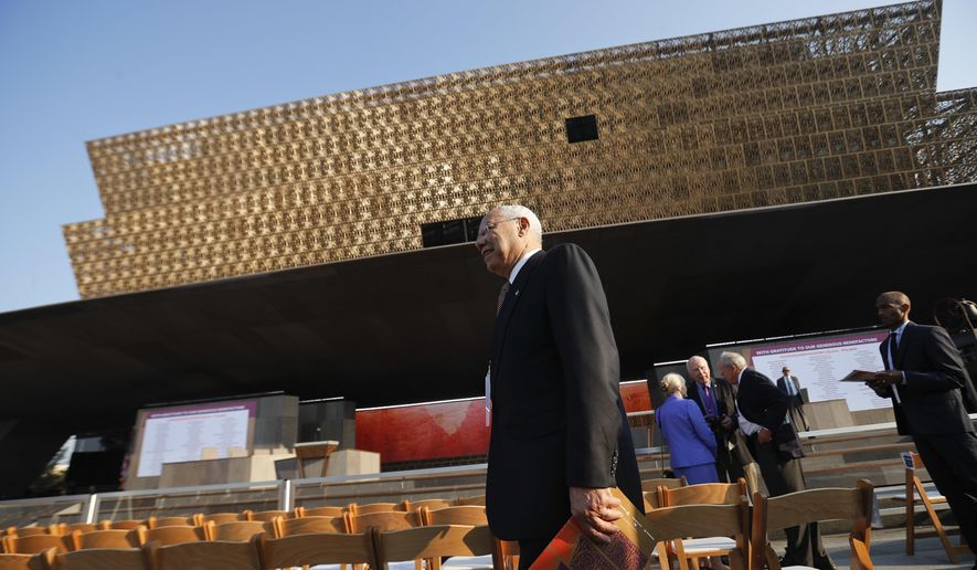 Former Secretary of State Colin Powell arrives for today's dedication ceremony at the Smithsonian Museum of African American History and Culture on the National Mall in Washington, Saturday, Sept. 24, 2016. (AP Photo/Pablo Martinez Monsivais)