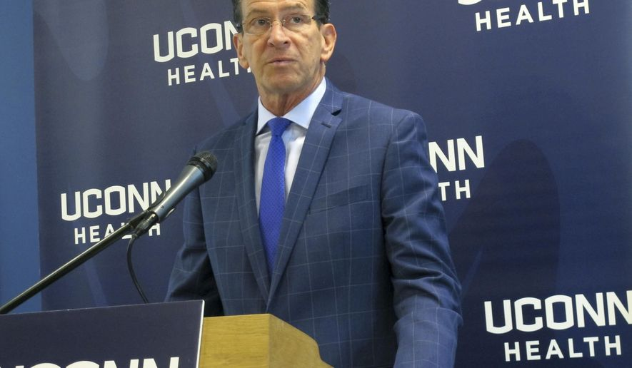 In this Sept. 22, 2016 photo, Connecticut Gov. Dannel P. speaks at a ribbon cutting for new laboratory space at the University of Connecticut's Cell and Genome Sciences building in Farmington, Conn. The labs are being leased to bioscience startup businesses as part of the state's Technology Incubator Program. (AP Photo/Pat Eaton-Robb)