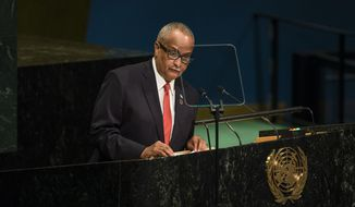 Somalia's Foreign Minister Abdusalam Hadliyeh Omer addresses the 71st session of the United Nations General Assembly at U.N. headquarters, Saturday, Sept. 24, 2016. (AP Photo/Andres Kudacki)