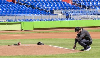 Miami Marlins player Christian Yelich reacts in front of a memorial on the pitcher's mound at Marlins Park for Marlins pitcher Jose Fernanedez, Sunday, Sept. 25, 2016. The Sunday game between the Marlins and the Atlanta Braves was cancelled. Fernandez, the ace right-hander for the Miami Marlins who escaped Cuba to become one of baseball's brightest stars, was killed in a boating accident early Sunday morning. He was 24. (AP Photo/Gaston De Cardenas)