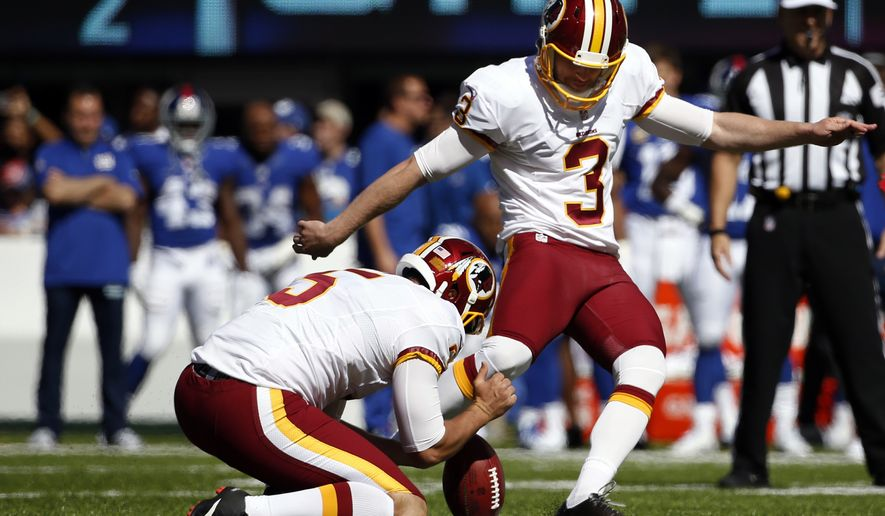 Washington Redskins kicker Dustin Hopkins (3) boots a field goal during the first half of an NFL football game against the New York Giants, Sunday, Sept. 25, 2016, in East Rutherford, N.J. (AP Photo/Kathy Willens) **FILE**