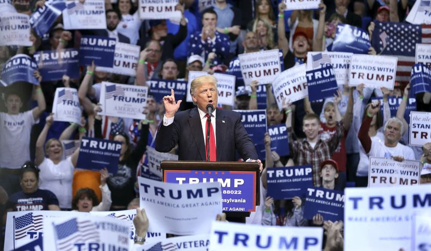 Donald Trump speaks at a campaign rally in Wilkes-Barre, Pa., on April 25, 2016. (Associated Press)