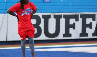 FILE - In this Thursday, Sept. 15, 2016, file photo, Buffalo Bills wide receiver Sammy Watkins warms up before an NFL football game against the New York Jets in Orchard Park, N.Y. Watkins, hampered by foot soreness in recent weeks, is unlikely to play against the Arizona Cardinals on Sunday. (AP Photo/Bill Wippert, File)