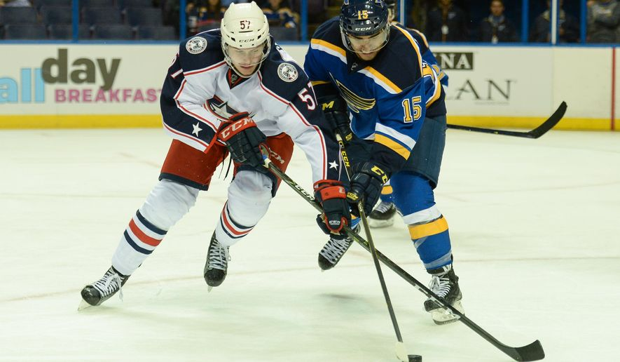 Columbus Blue Jackets' Paul Bittner (57) and St. Louis Blues' Robby Fabbri (15) battles for the puck during the second period of a preseason NHL hockey game Sunday, Sept. 25, 2016, in St. Louis. (AP Photo/Michael Thomas)