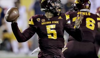 Arizona State quarterback Manny Wilkins (5) throws against California during the first half of an NCAA college football game, Saturday, Sept. 24, 2016, in Tempe, Ariz. (AP Photo/Matt York)