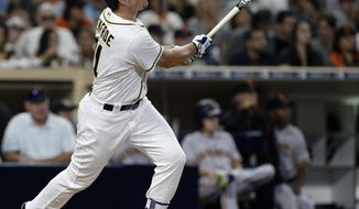 San Diego Padres' Hunter Renfroe watches his solo home run during the fourth inning against the San Francisco Giants in a baseball game in San Diego, Saturday, Sept. 24, 2016. (AP Photo/Alex Gallardo)