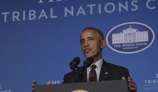 President Barack Obama speaks at the 2016 White House Tribal Nations Conference held in the Mellon Auditorium in Washington, Monday, Sept. 26, 2016. (AP Photo/Susan Walsh)