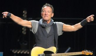 In this April 20, 2016 file photo, Bruce Springsteen performs in concert with the E Street Band during their The River Tour 2016 at the Royal Farms Arena in Baltimore. (Photo by Owen Sweeney/Invision/AP, File)